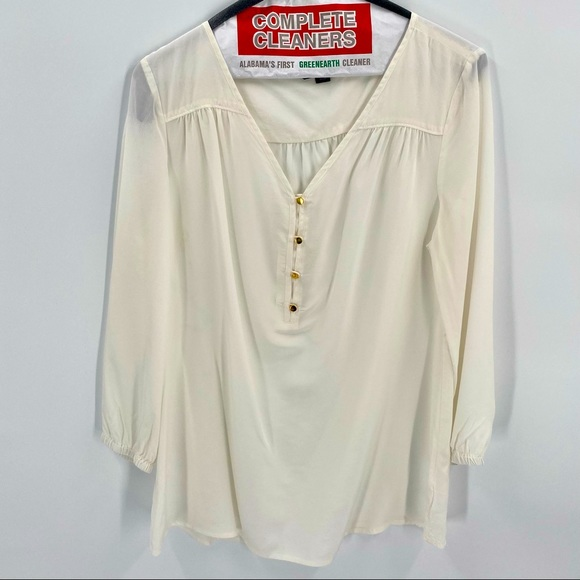 Lands End Silk Blouse 10 Offwhite Gold Buttons